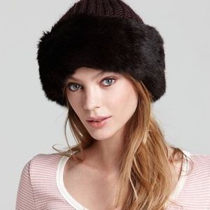 NWT Surell Black Faux Fur Cuff Hat with Knit Crown